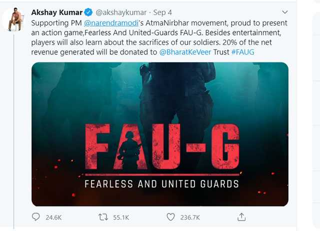 akshey kumar fau g, atma nirbhar bharat, ban chinese apps, fau g indian game, fau g multiplayers action game, faug, indian game, pubg best alternative fau g, self reliant india